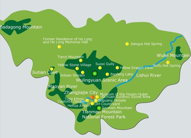 Hunan Province China Map.Zhangjiajie Maps Map Of Zhangjiajie Hunan China Zhangjiajie