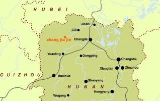 Zhangjiajie Map in Hunan Province