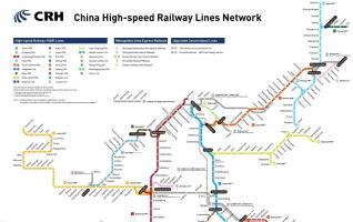 CHINA High-rail Train Travel Map-Multilingual Versions(2016)